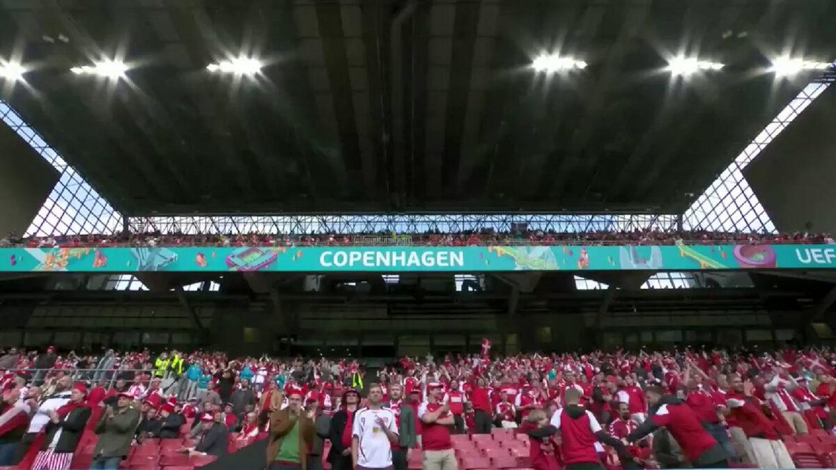 Denmark fans sing Christian Eriksen's name at the Parken Stadium