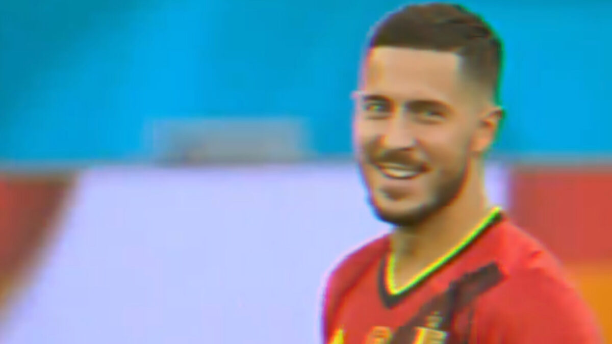 Eden Hazard having a light moment during his masterclass display against Portugal