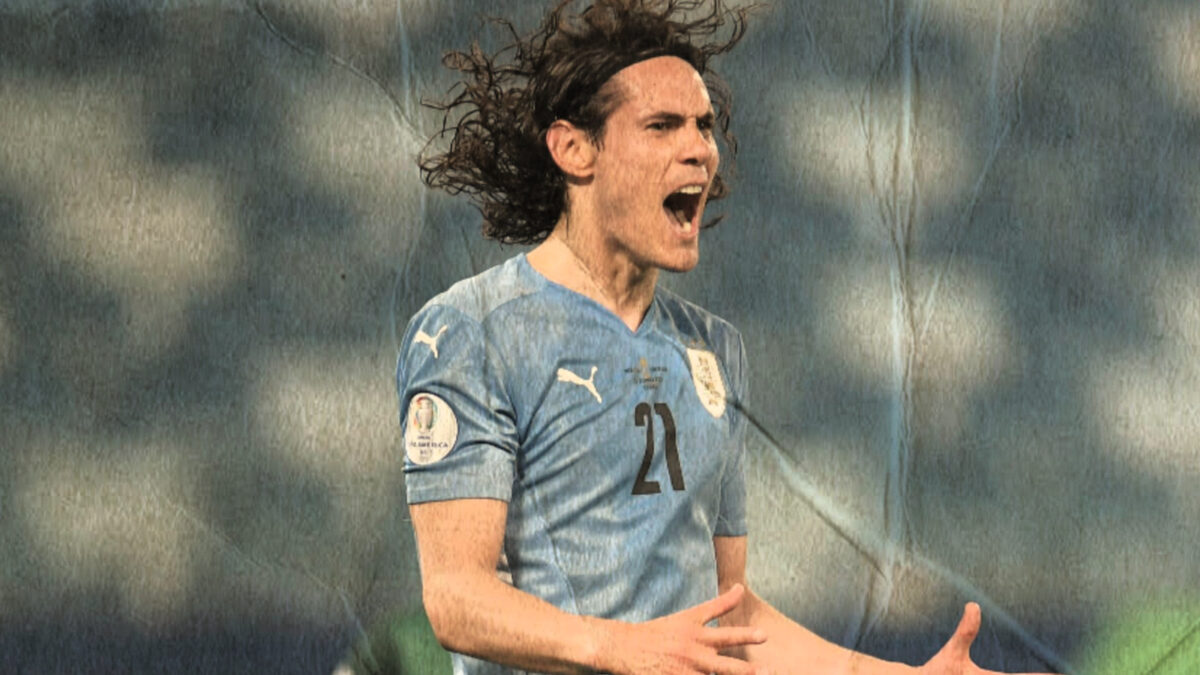 Edinson Cavani launches into passionate celebration after scoring a goal against Bolivia