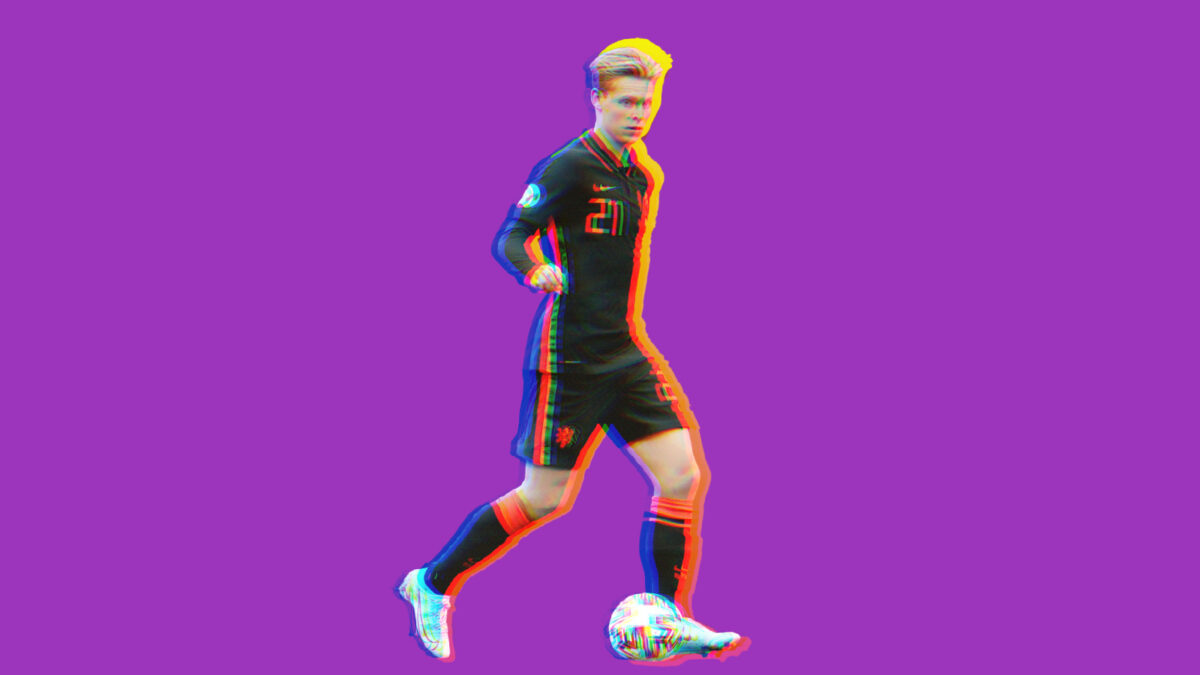 Frenkie De Jong with the ball at his feet during North Macedonia clash