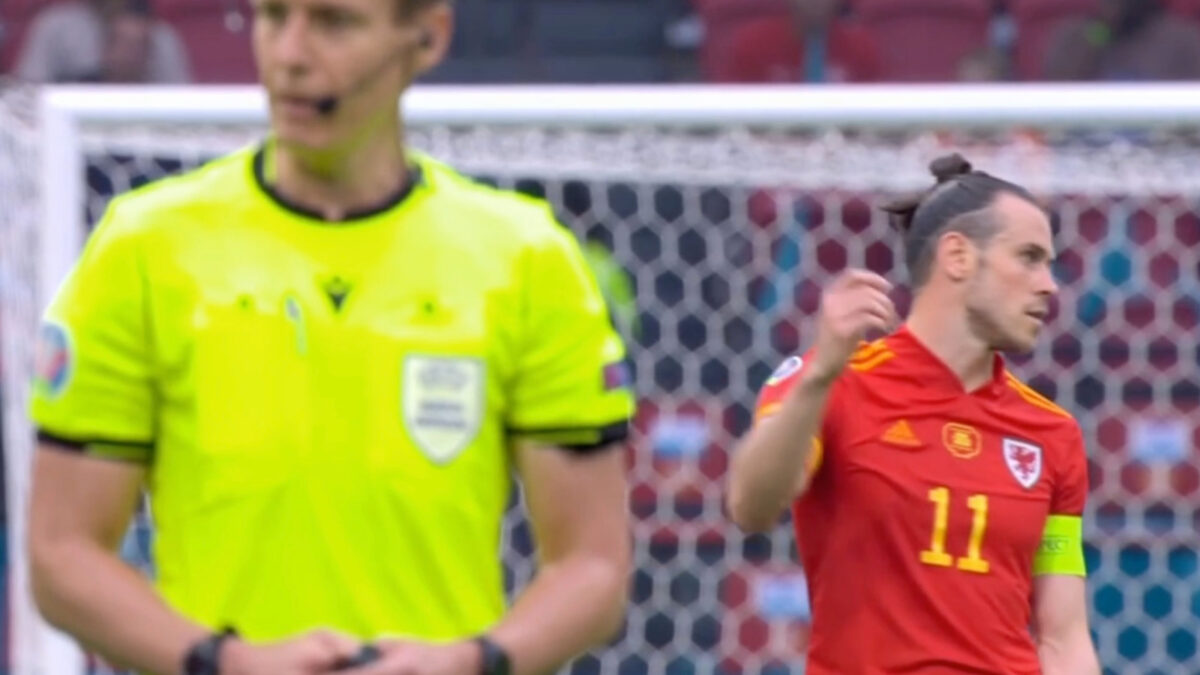 Gareth Bale shutting his eyes to the referee during the dying minutes of Wales v Denmark