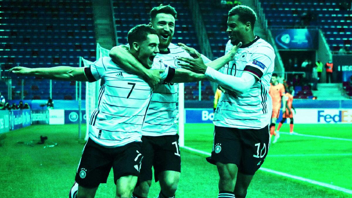 Germany U21 player celebrate scoring a goal v Netherlands