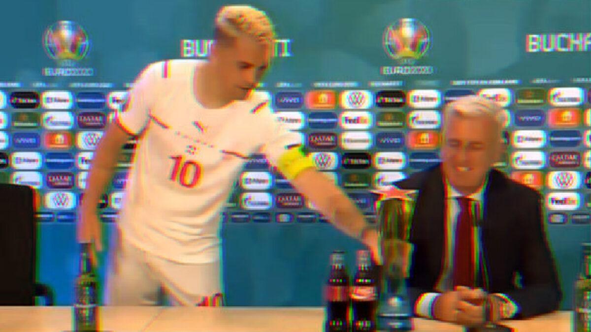 Granit Xhaka giving his MOTM trophy to Vladimir Petkovic during press conference