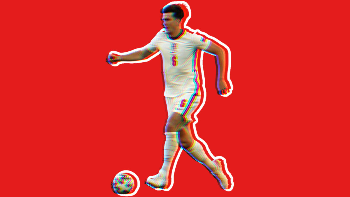 Harry Maguire progressing the ball forward during game v Czech Republic