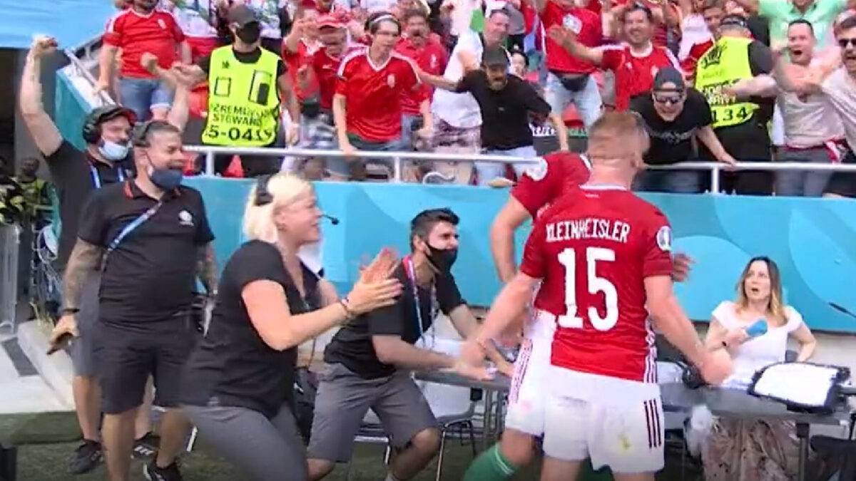 Hungary players startle female pitchside announcer with their goal celebrations against France