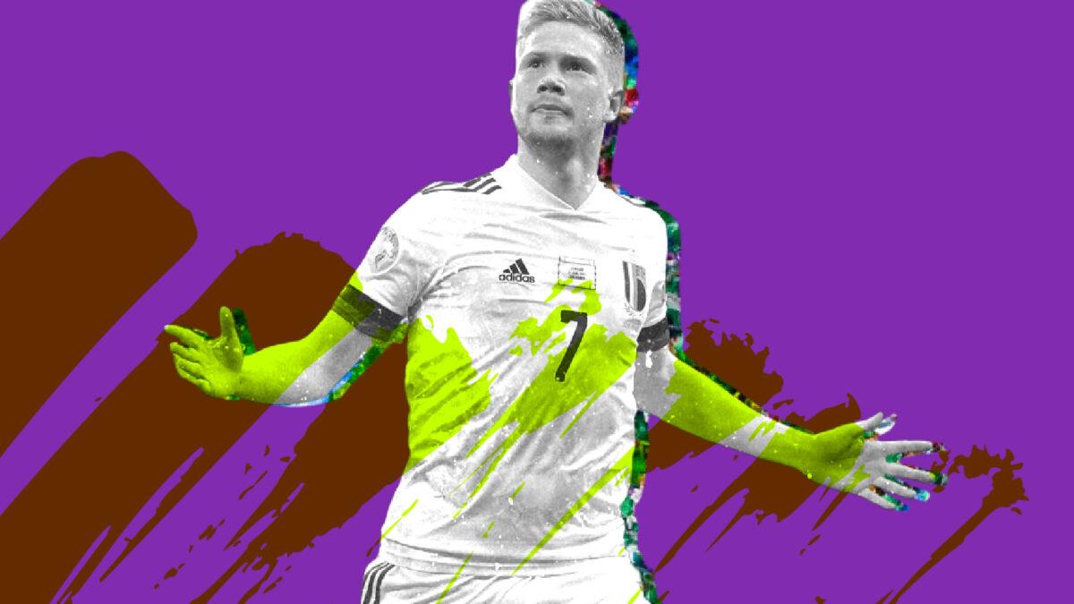 Kevin De Bruyne celebrating his goal against Denmark