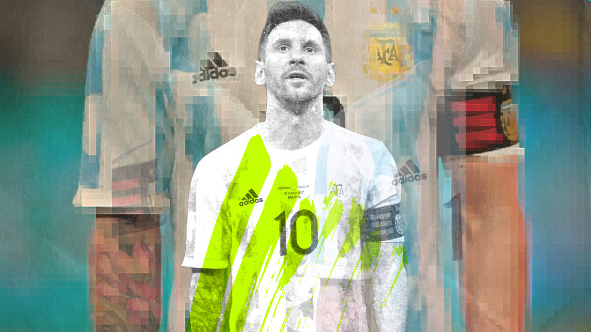 Lionel Messi looking the business during the game against Uruguay