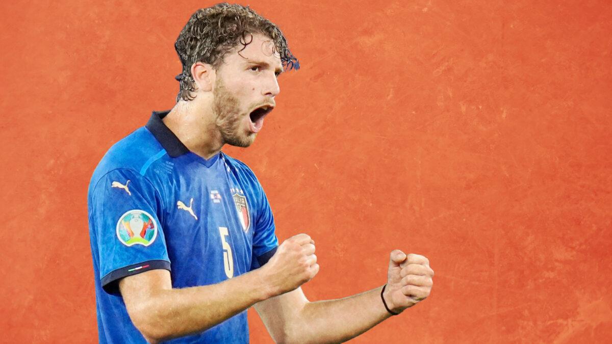 Manuel Locatelli fistpumping after scoring a goal against Switzerland