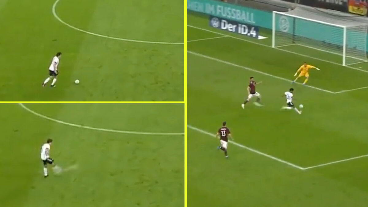 Mats Hummels provides a long range outside of boot assist for Serge Gnabry's goal v Latvia