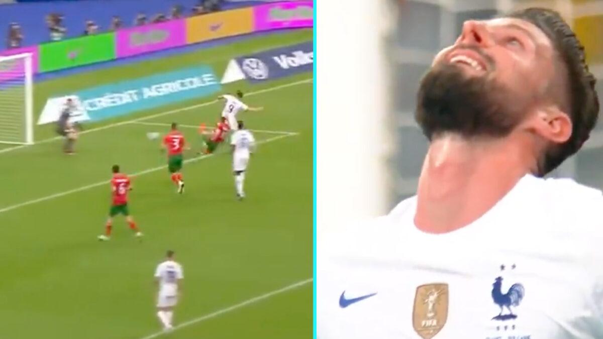 Olivier Giroud thanks god after scoring a goal against Bulgaria