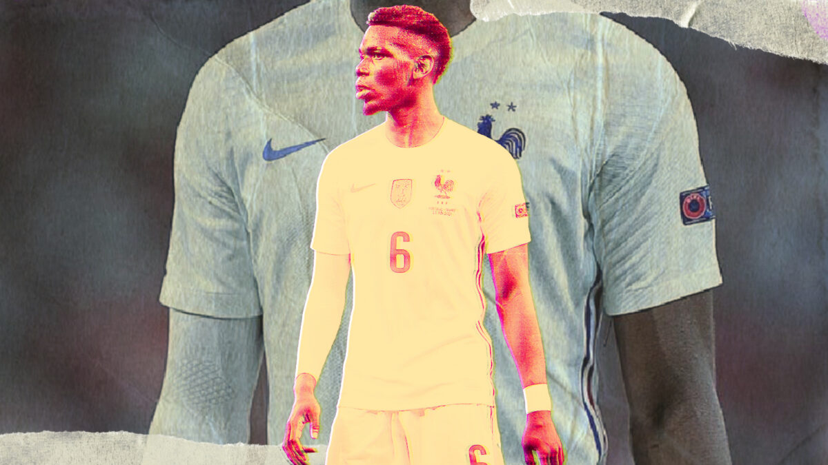 Paul Pogba looking focused during France's clash v Portugal