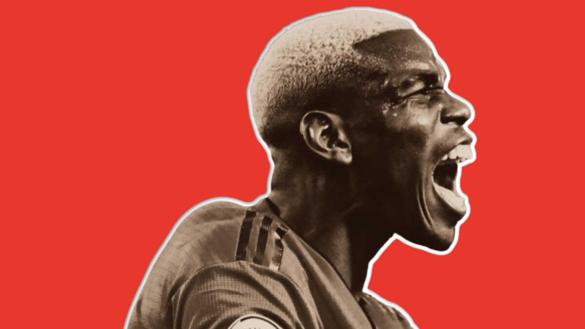 Paul Pogba screaming in jubilation