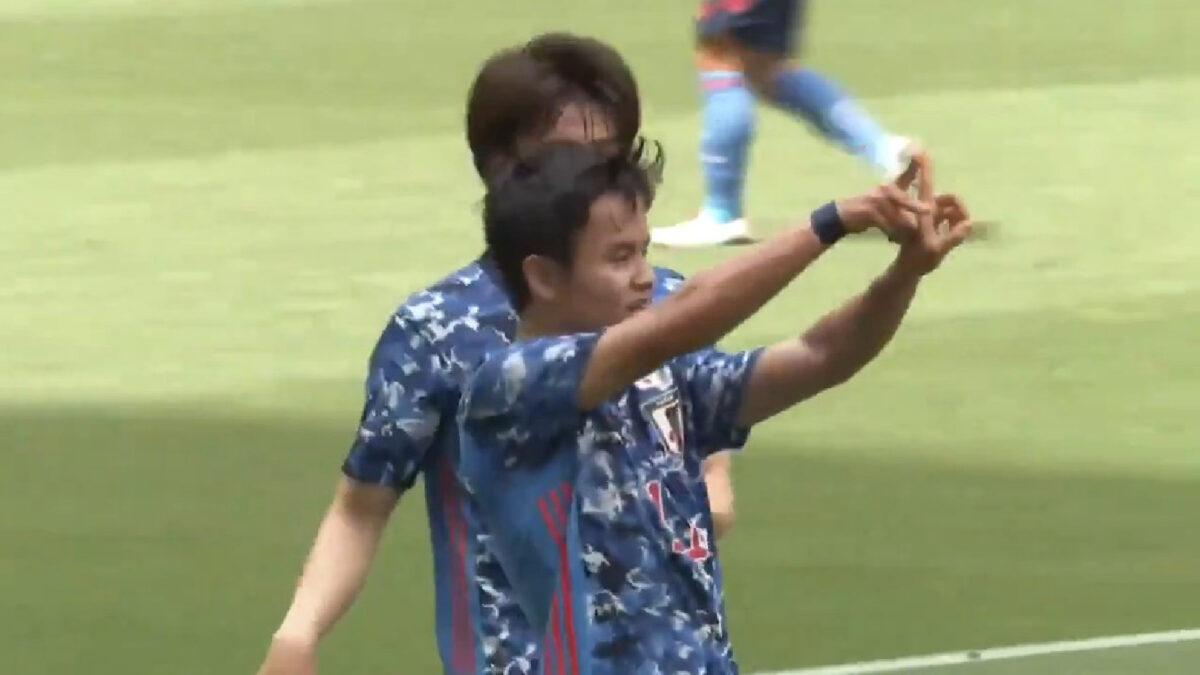 Takefusa Kubo celebrates scoring a 4-man nutmeg goal against Jamaica