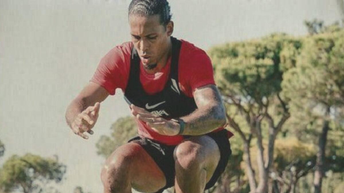 Virgil van Dijk doing a high jump in training