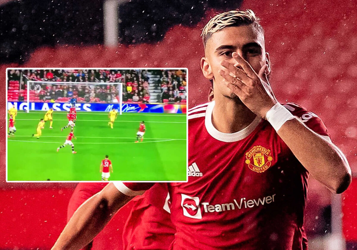 Andreas Pereira celebrates after scoring a humdinger of a goal against Brentford