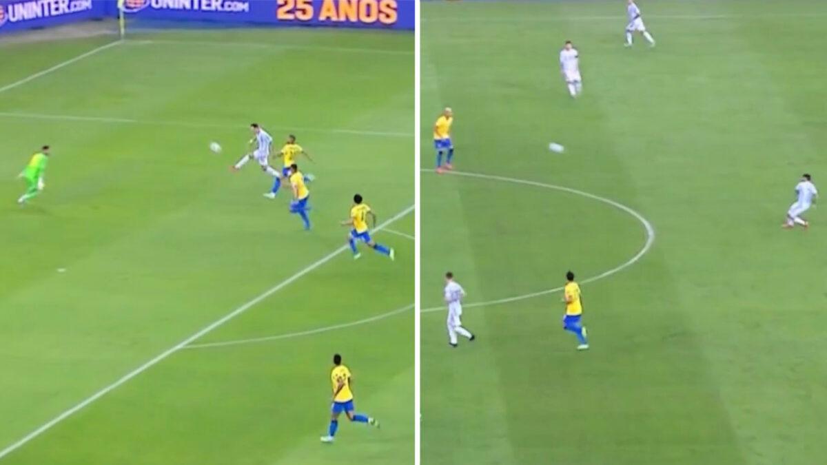 Angel Di Maria applies lobbed finish after Rodrigo De Paul's cross against Brazil