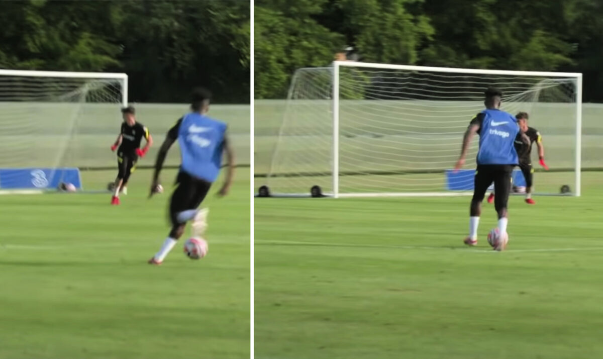 Callum Hudson-Odoi scores a peach of a goal from left flank during training match