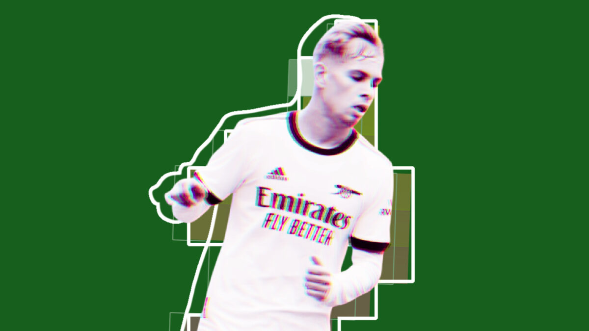Emile Smith Rowe celebrates after scoring a consolation goal for Arsenal in their loss against Hibernian