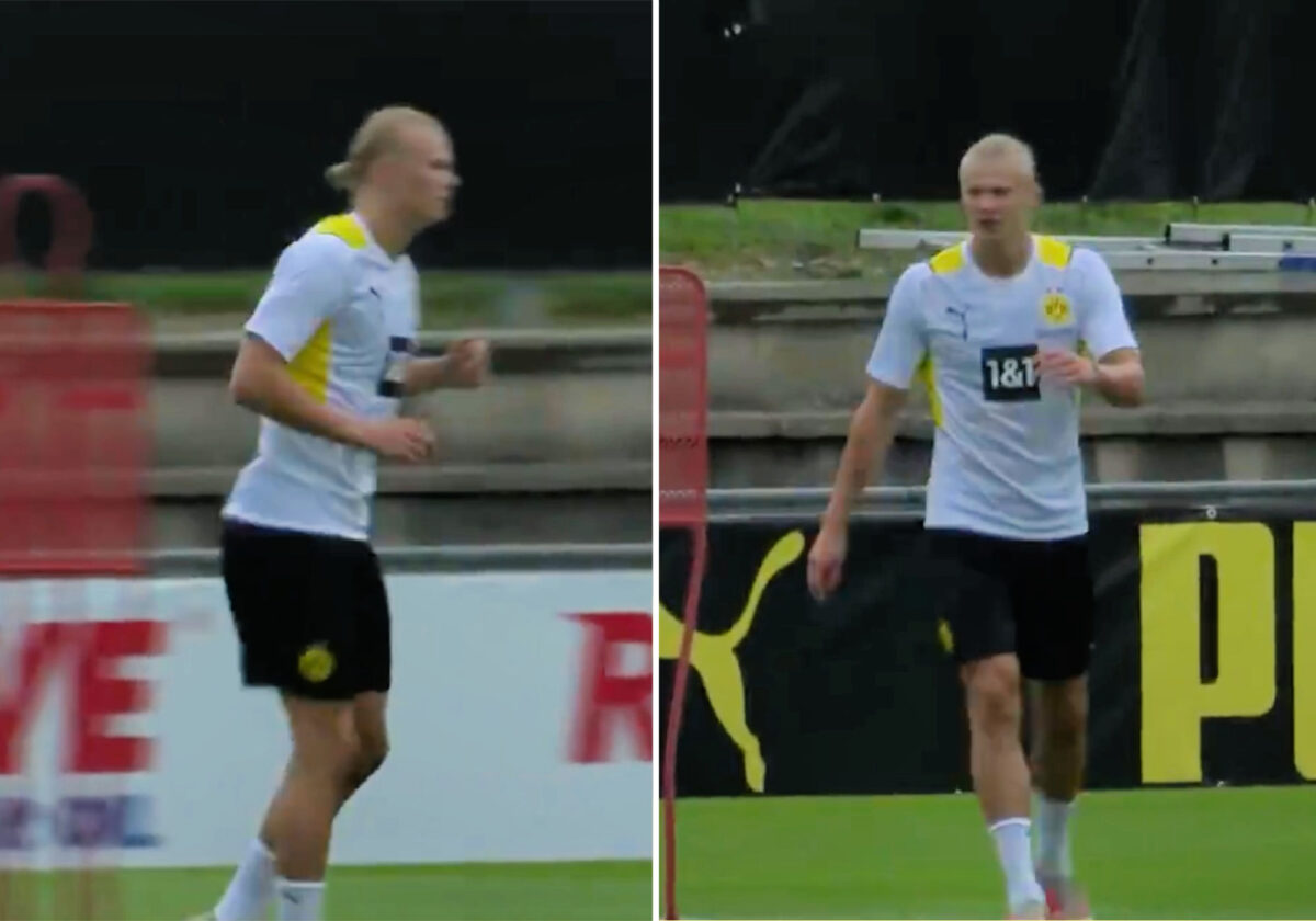 Erling Haaland stayed long after training to work on his weakness