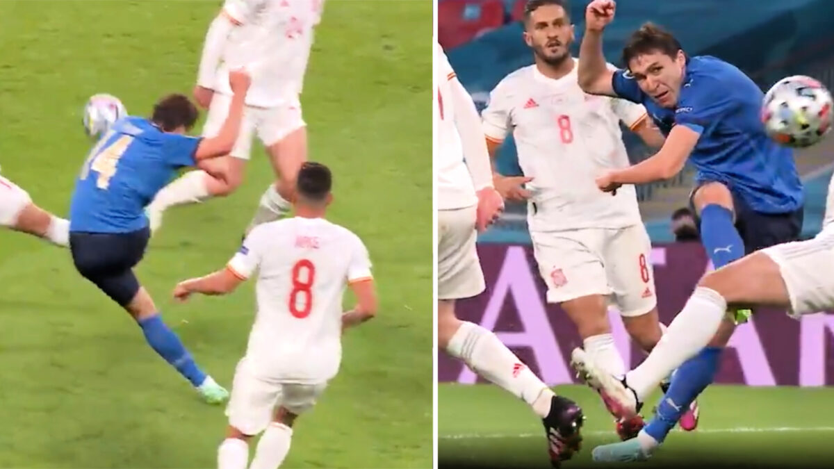 Federico Chiesa in the process of curling a stunning goal against Spain