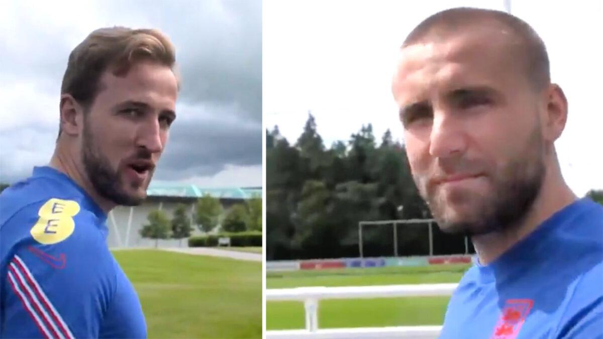 Harry Kane caught on camera calling Luke Shaw 'Shawberto'