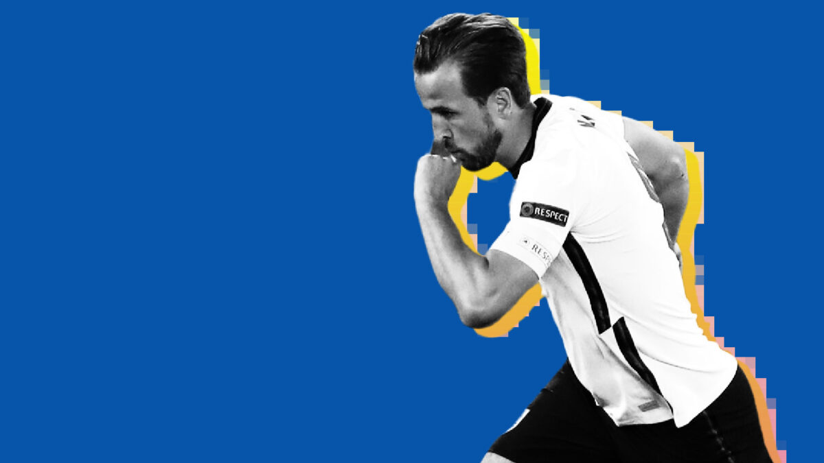 Harry Kane wheels away in celebration after scoring a goal against Ukraine