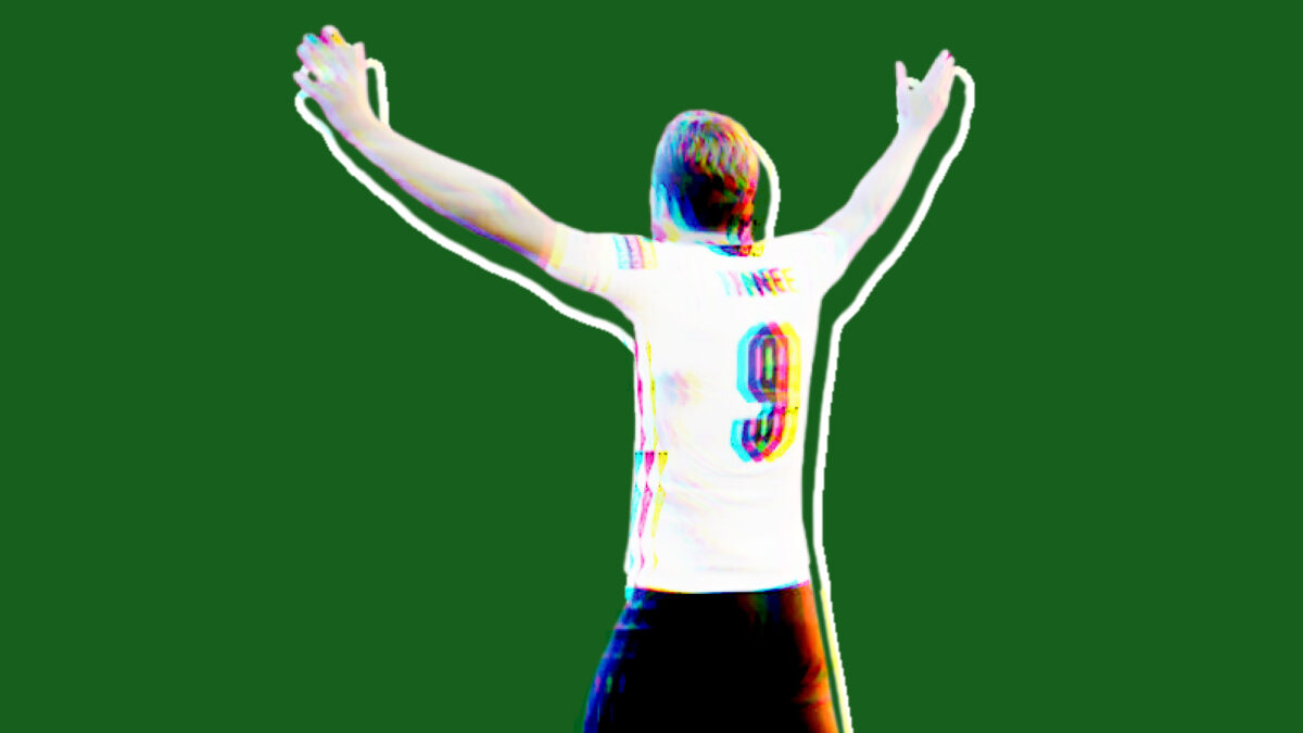 Harry Kane with his arms wide open after sending England to the final of Euro 2020