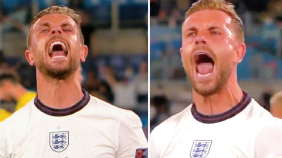 Jordan Henderson lets out a passionate scream after scoring a goal against Ukraine