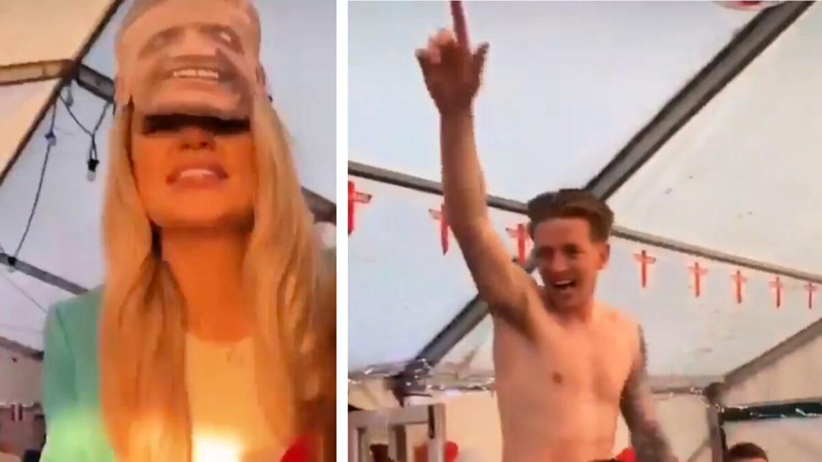 Jordan Pickford and wife Megan Davison enjoy England star's wild homecoming party