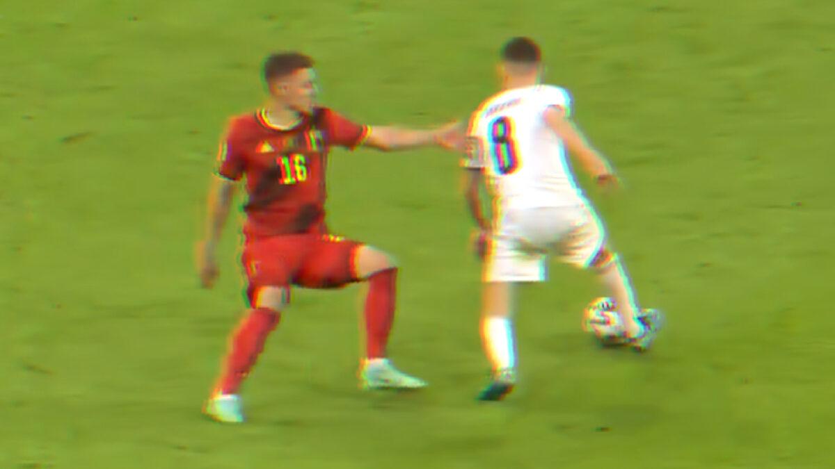 Jorginho taking Thorgan Hazard to the cleaners during Italy v Belgium
