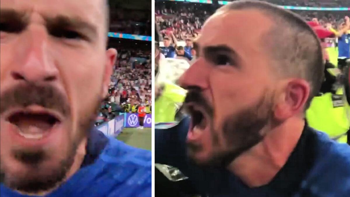 Leonardo Bonucci screaming 'it's coming to Rome' at the camera following shootout win over England