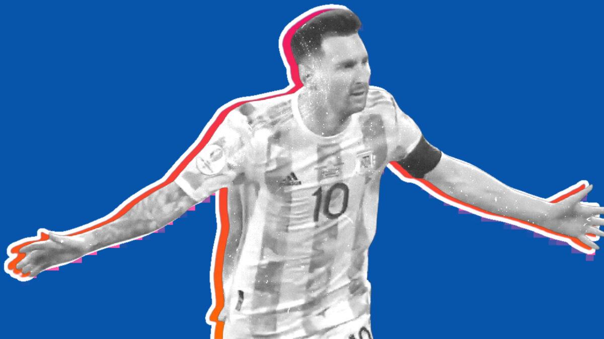 Lionel Messi celebrates scoring a peach of a free-kick against Ecuador