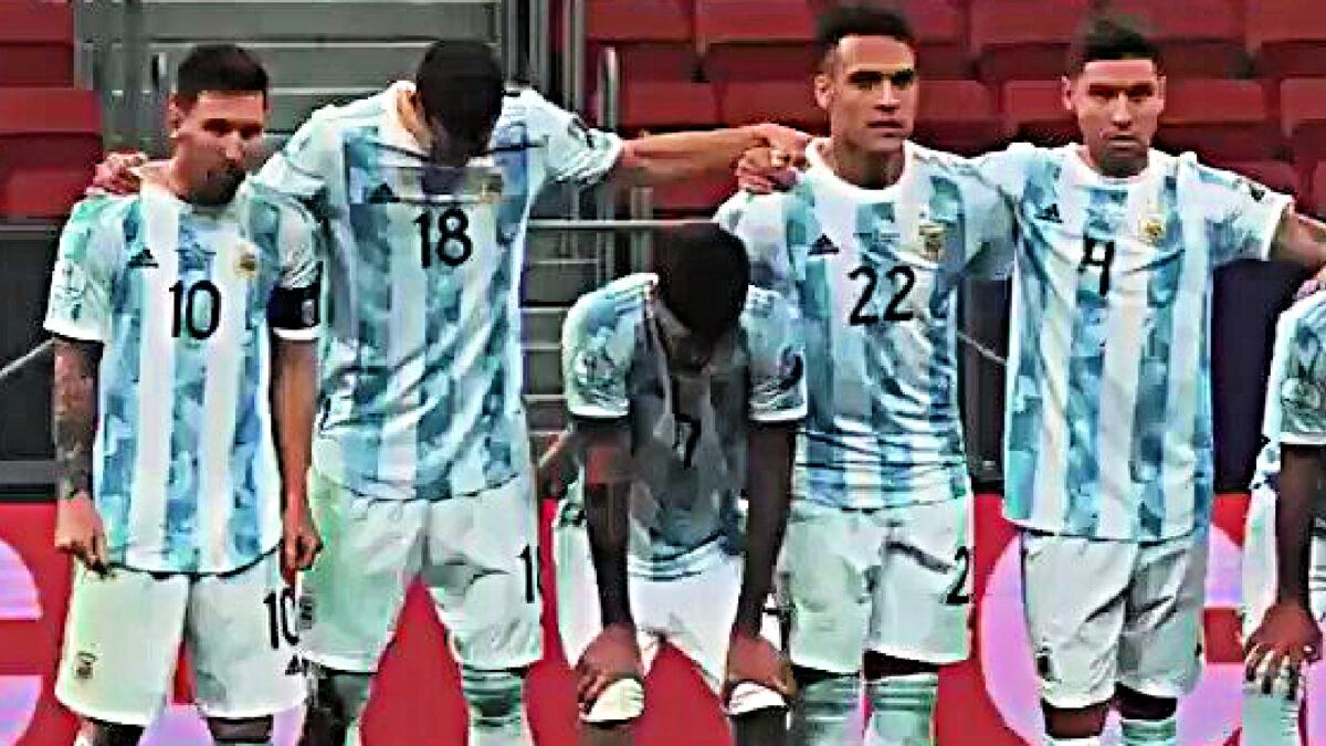 Lionel Messi alongside Argentina players during an intense penalty shootout against Colombia