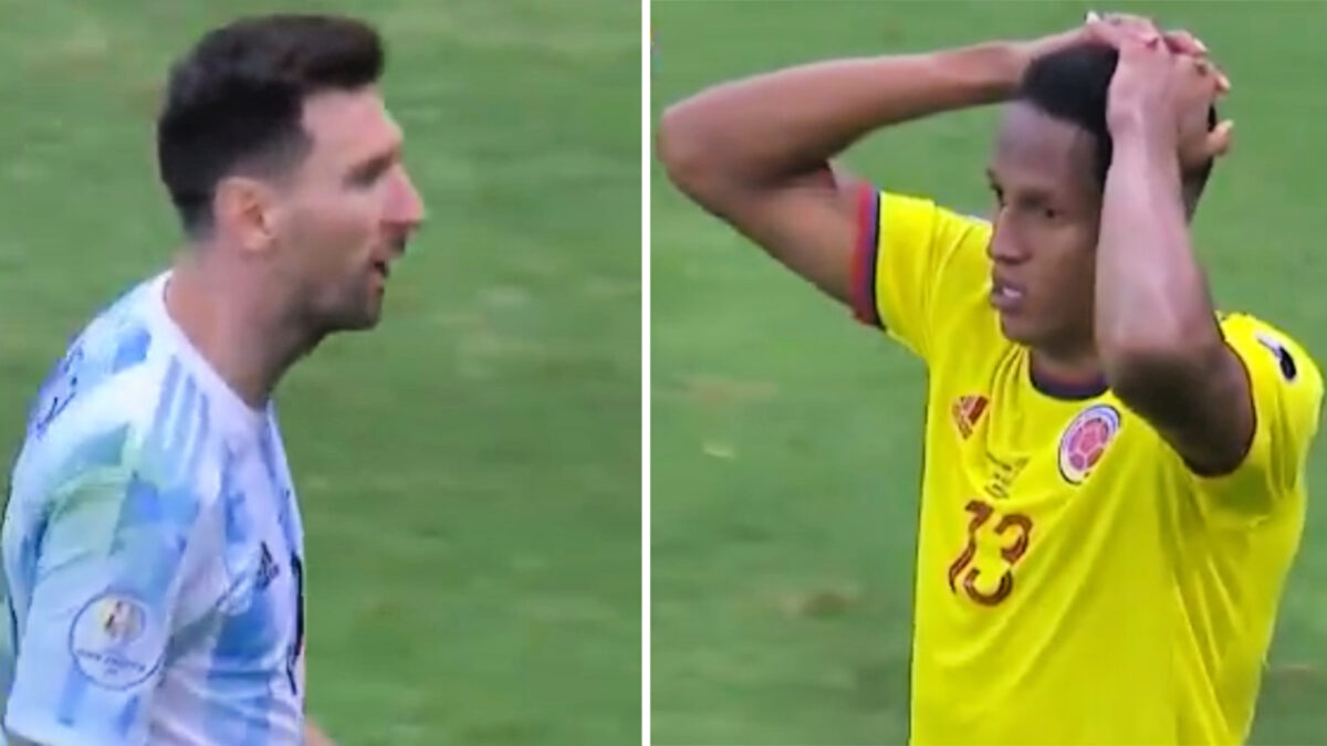 Lionel Messi mocked Yerry Mina during the penalty shootout between Argentina and Colombia