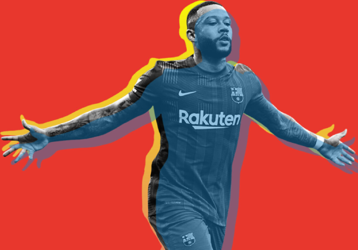 Memphis Depay celebrates scoring for FC Barcelona against Vfb Stuttgart in a pre-season friendly