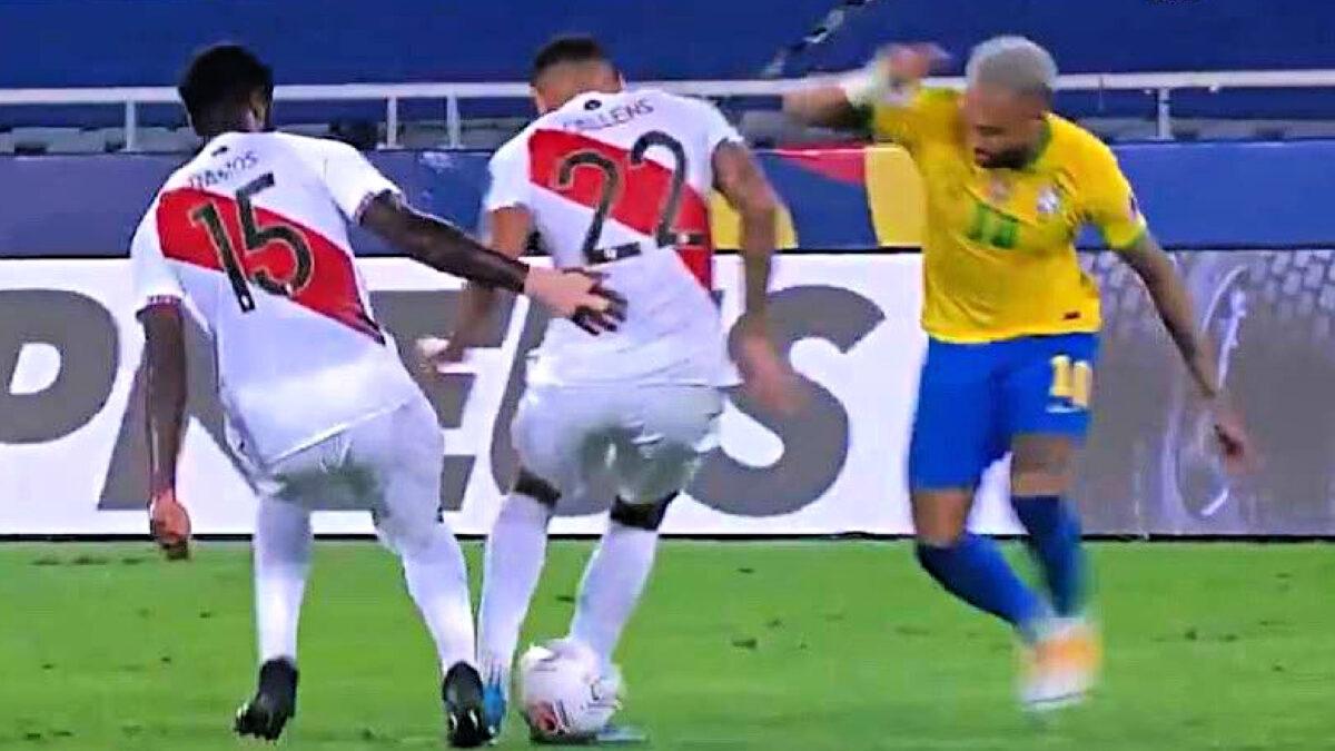 Neymar nutmegs a Peru player before teeing up a pass for Lucas Paqueta