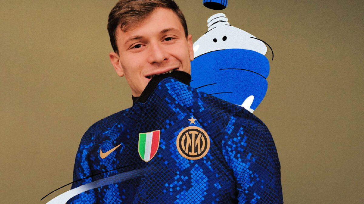 Nicolo Barella shows off Inter Milan's brand spanking new snakeskin home kit for 21/22 season from Nike