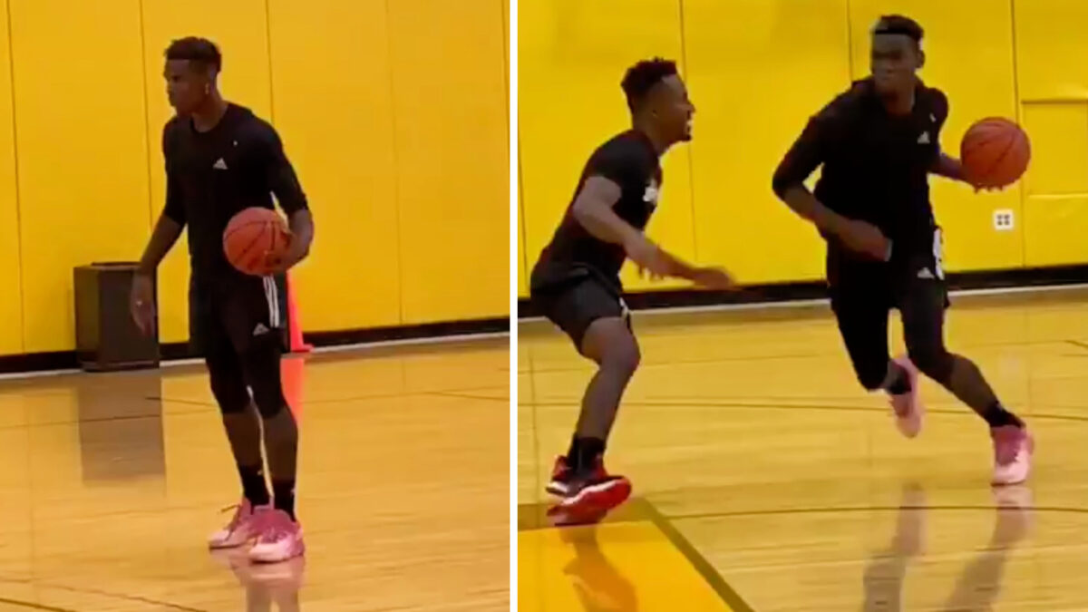 Paul Pogba showing off his basketball skills during his holidays in America