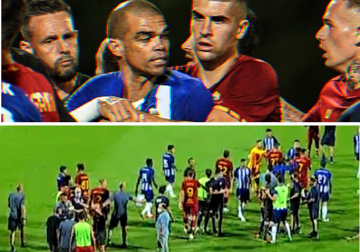 Pepe sparks a mass brawl with his challenge on Mkhitaryan during pre-season clash between Roma and Porto