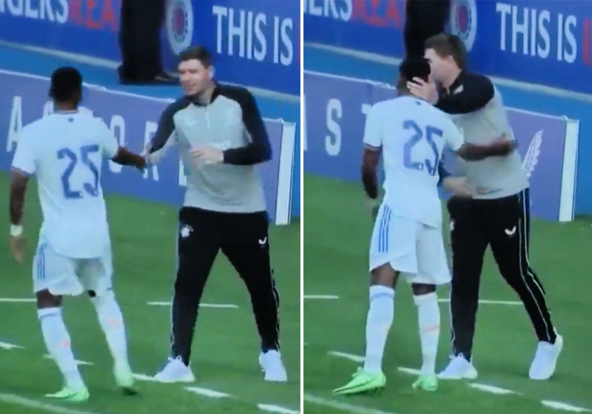 Rodrygo shakes hands with Steven Gerrard during Real Madrid's pre-season friendly against Rangers