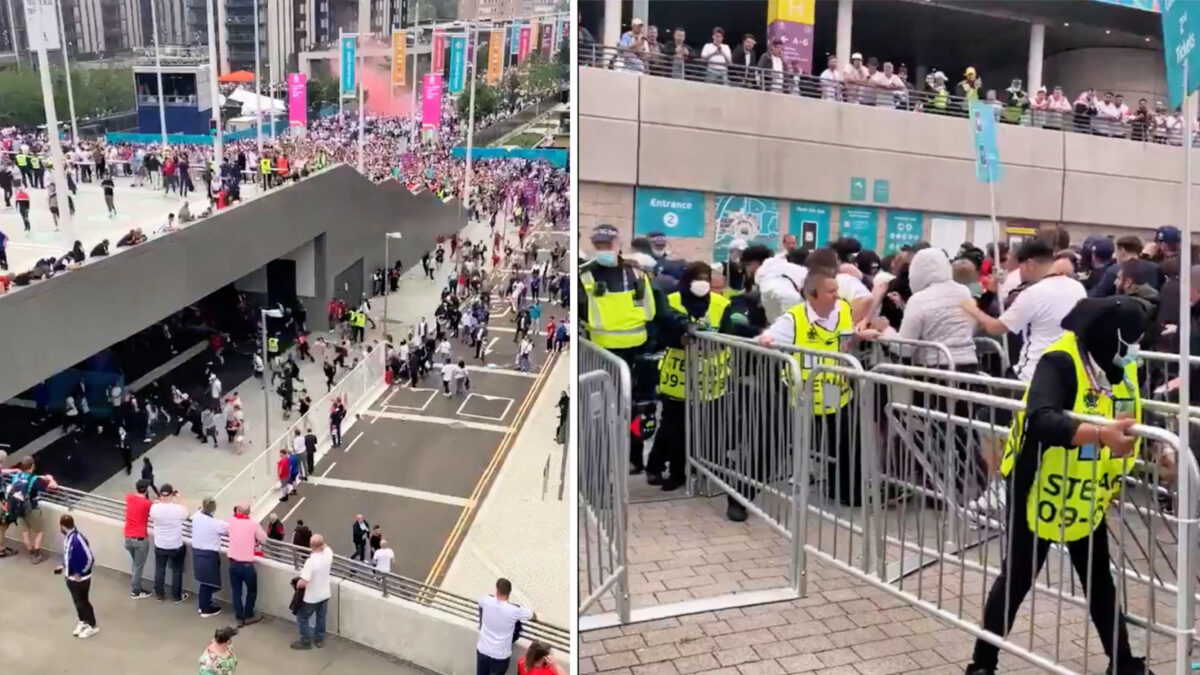 Security unable to stop the England fans without tickets storming the ticket entrances at Wembley