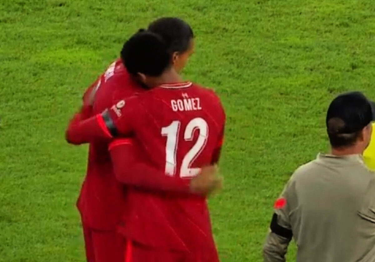 Virgil van Dijk and Joe Gomez share a hug on the touchline as the Liverpool centre-back duo make their much-awaited return to action against Hertha Berlin