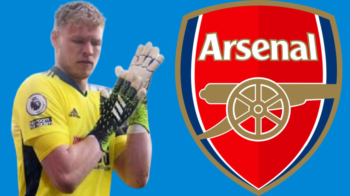 Aaron Ramsdale and Arsenal logo