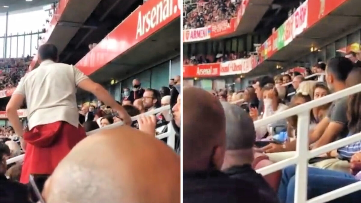 Arsenal fan confronts Edu at the Emirates. Gets shown the finger by Edu's wife.