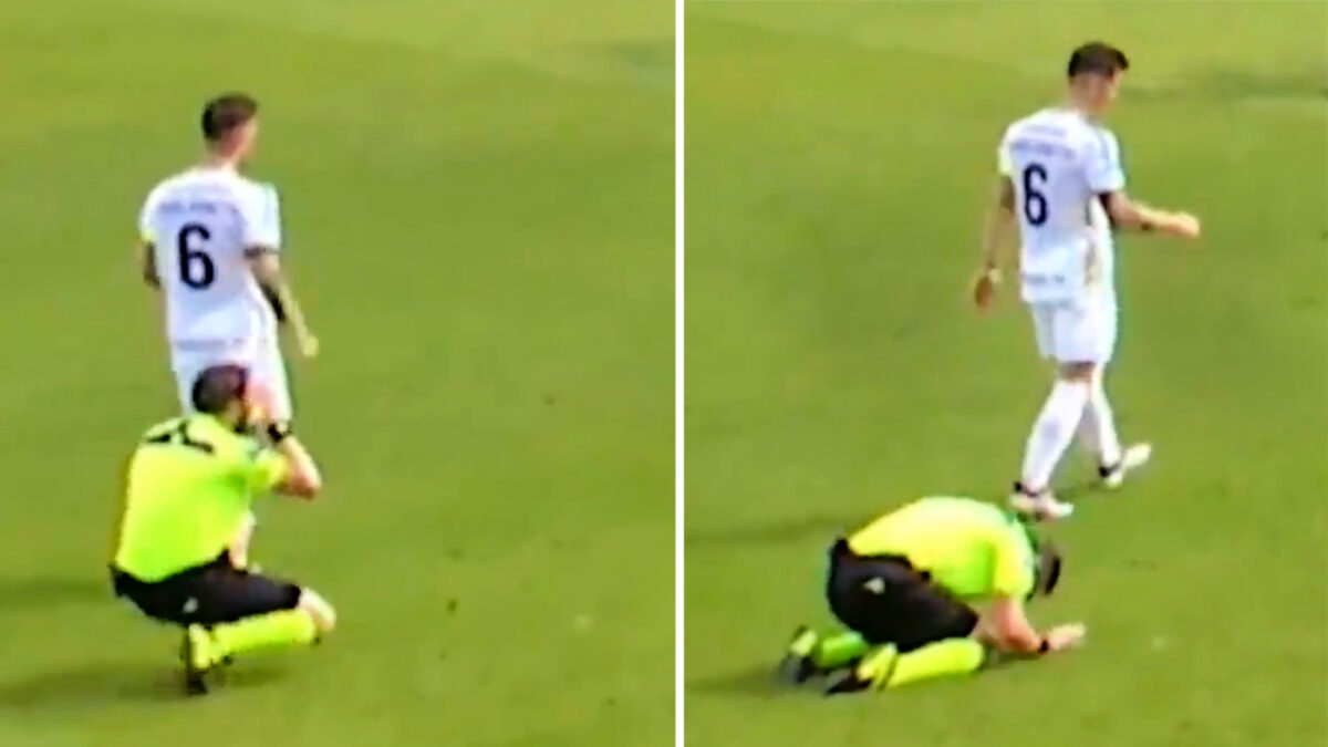 Danish referee goes to the ground after realizing his mistake