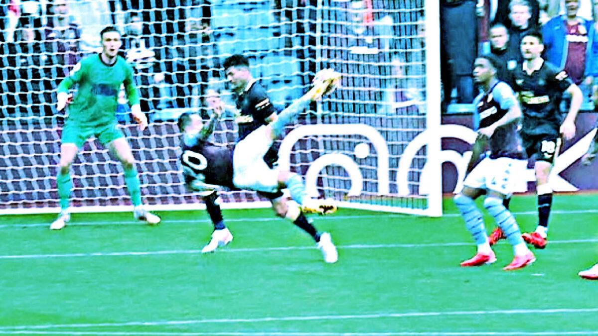 Danny Ings puts Aston Villa ahead with a stirring overhead kick goal v Newcastle United