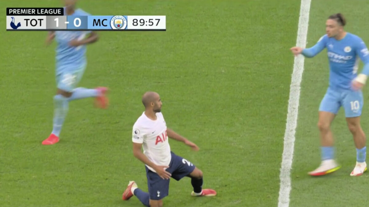 Debutant Jack Grealish accusing Lucas Moura of diving during Spurs' 1-0 win over Manchester City