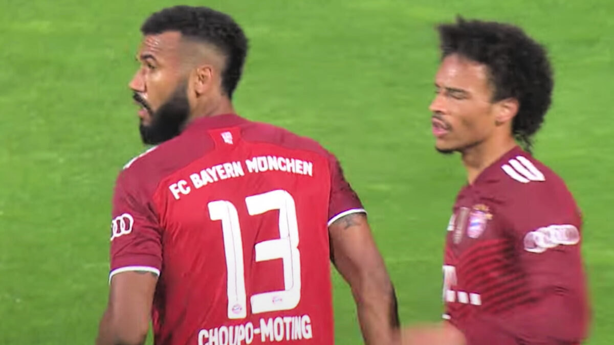 Eric Maxim Choupo-Moting celebrates scoring Bayern Munich's first goal against Bremer SV