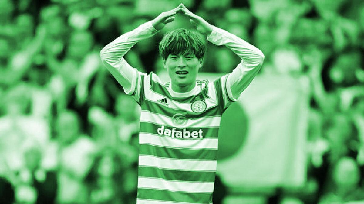 Kyogo Furuhashi celebrates scoring a goal for Celtic