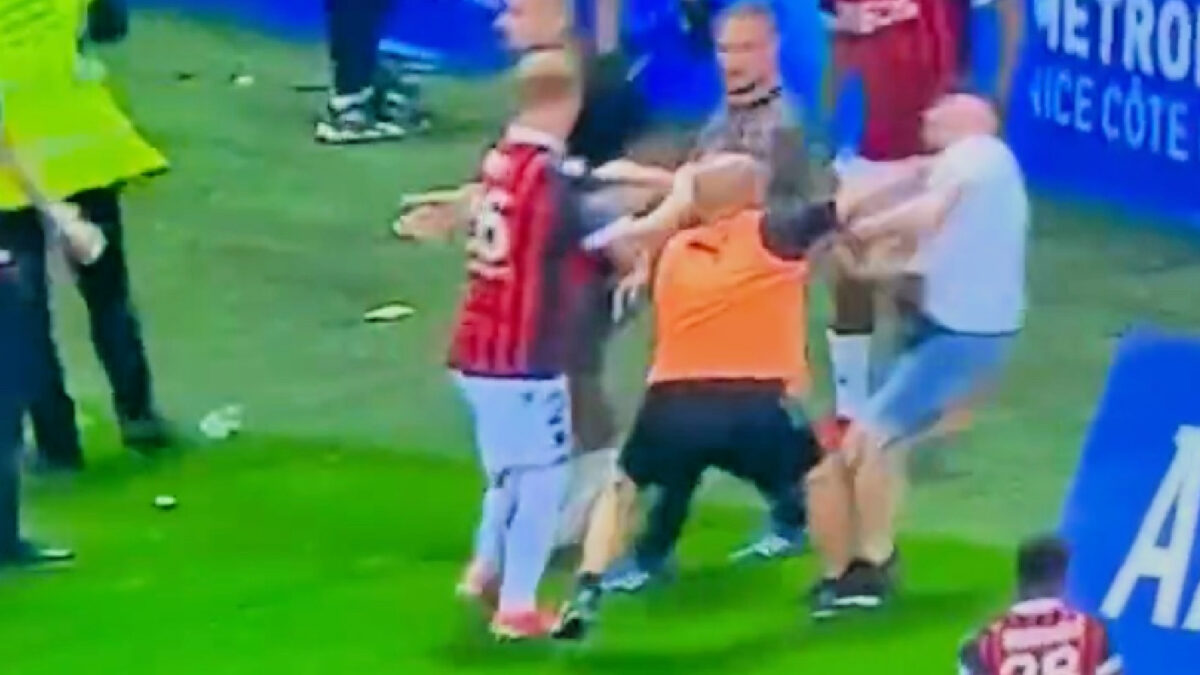 Marseille coach knocks a Nice fan out cold